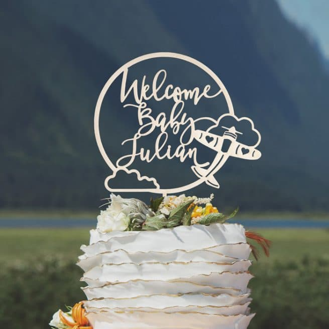 Welcome Baby Shower Airplane Cake Topper by Thistle and Lace Designs Inc.
