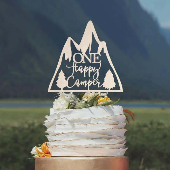 One Happy Camper Birthday Cake Topper by Thistle and Lace Designs Inc