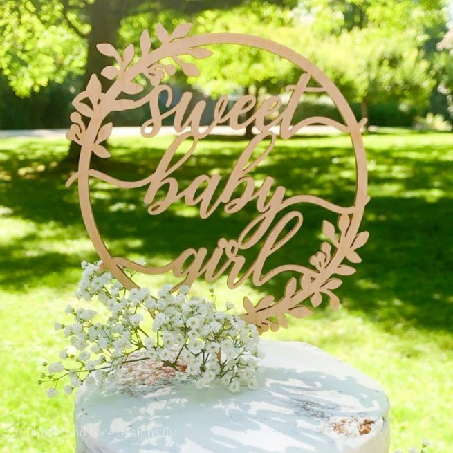 Sweet Baby Girl Cake Topper by Thistle and Lace