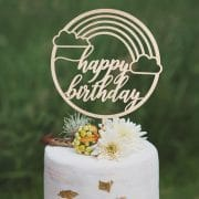 Rainbow Happy Birthday Cake Topper by Thistle and Lace Designs Inc.