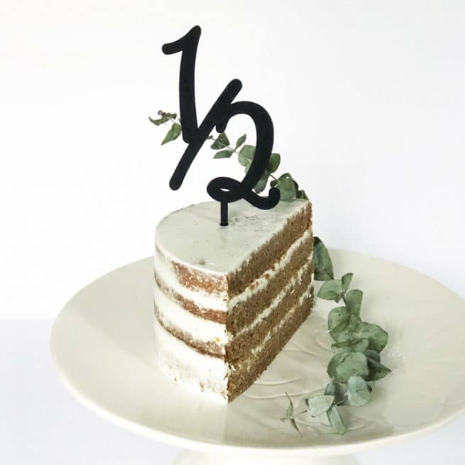 half birthday cake topper by Thistle and Lace Designs Inc.