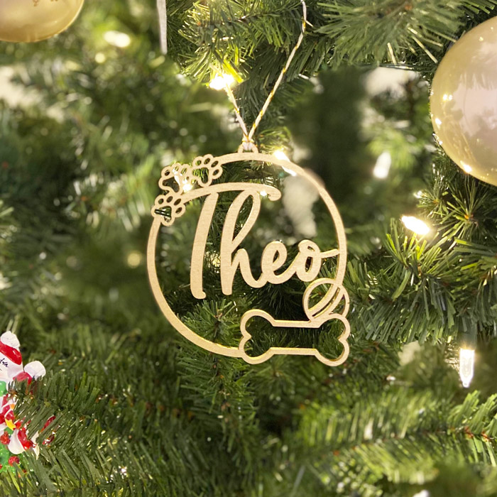 Dog Christmas Ornament by Thistle and Lace Designs Inc.