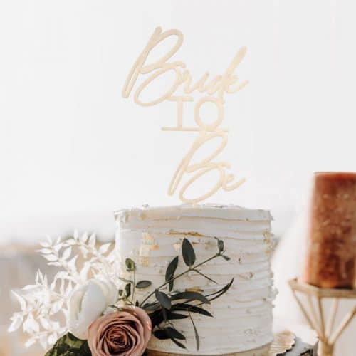 modern bride to be cake topper