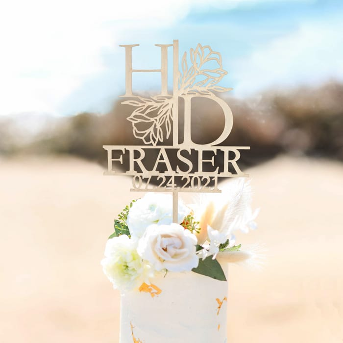 Floral Monogram and Name Wedding Cake Topper