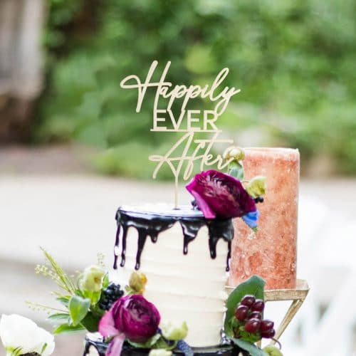 Happily Ever After Wedding Cake Topper by Thistle and Lace