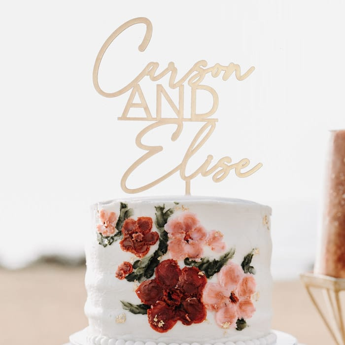 Custom name wedding cake topper by Thistle and Lace Designs Inc