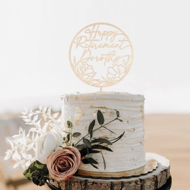 Happy Retirement Cake Topper for women by Thistle and Lace Designs Inc