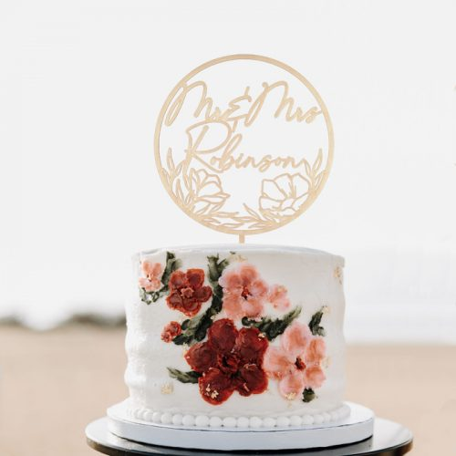 Mr and Mrs Floral Wedding Cake Topper by Thistle and Lace Designs Inc