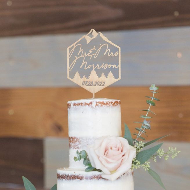 Personalized Mr and Mrs mountain wedding cake topper by Thistle and Lace