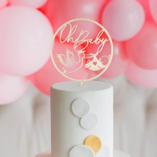 Oh Baby Cake Topper with Stork by Thistle and Lace Designs Inc.