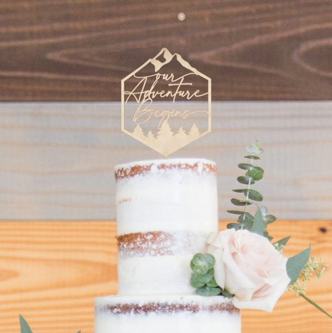 Our Adventure beings wedding cake topper by Thistle and Lace