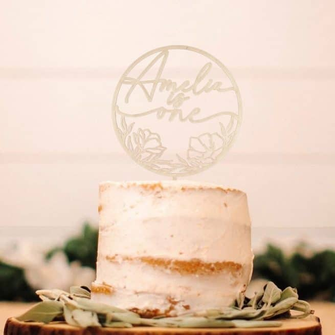 Rustic First birthday cake topper by Thistle and Lace