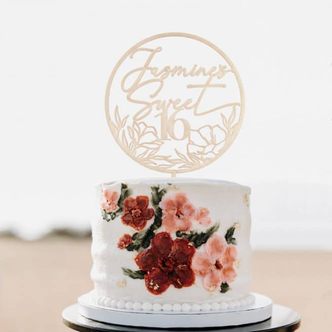 Custom Floral Sweet Sixteen Cake topper by Thistle and Lace Designs Inc