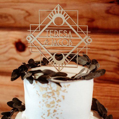 Art Deco Themed Custom Wedding Cake Topper