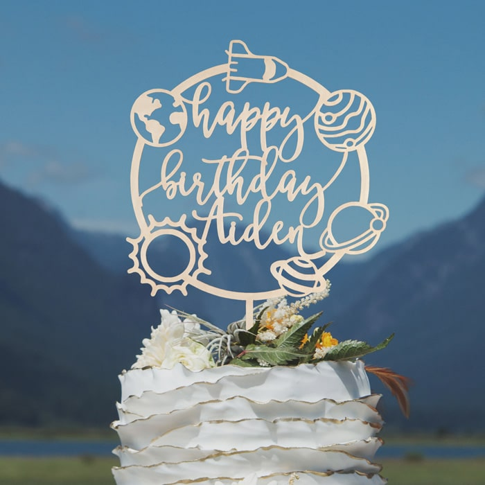 Space-Themed First Birthday Cake Topper by Thistle and Lace Designs Inc