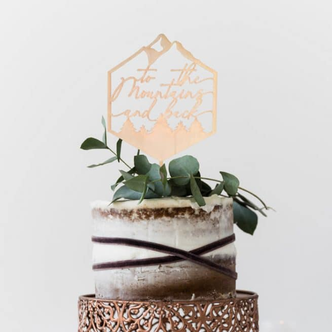 To The Mountains and Back Wedding Cake Topper