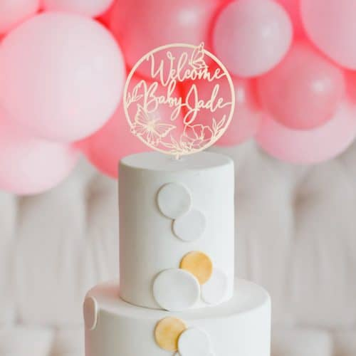 Welcome Baby Cake Topper and Baby Shower Cake Topper by Thistle and Lace Designs Inc.