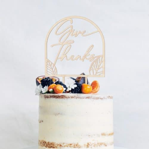 Give Thanks Thanksgiving Cake Topper