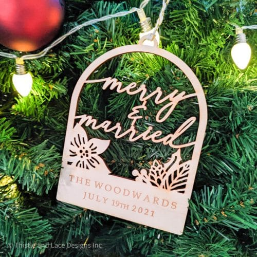 Merry and Married Christmas Ornament by Thistle and Lace Designs Inc.