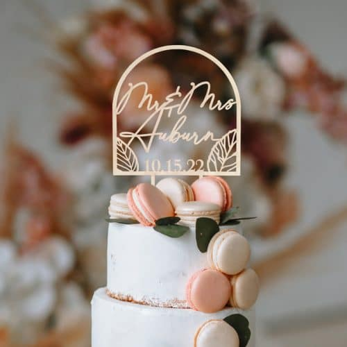 Mr and Mrs Fall Wedding Cake Topper