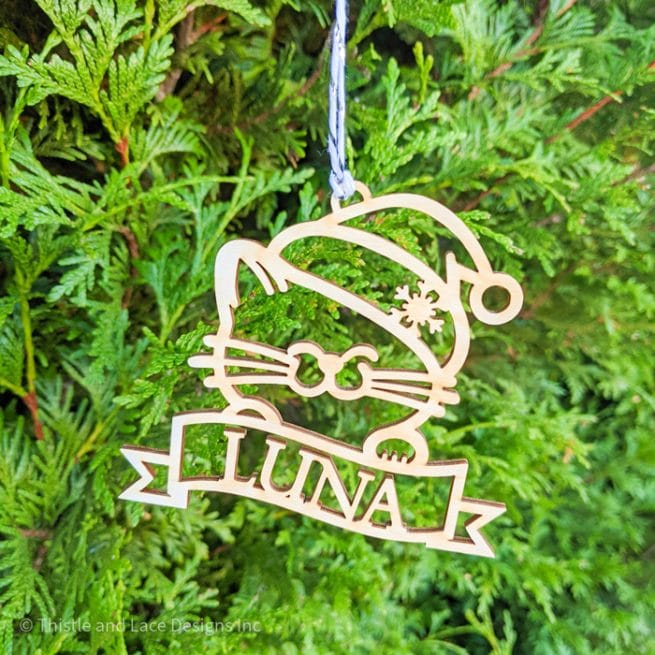 Personalized Cat Christmas Tree Ornament by Thistle and Lace Designs Inc