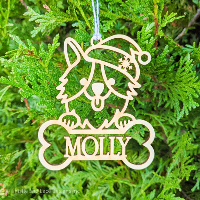 Personalized Corgi Christmas Tree Ornament by Thistle and Lace Designs Inc