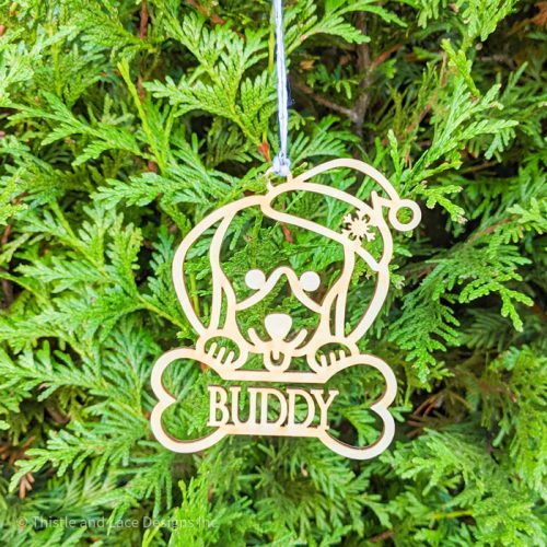 Personalized Dachshund Christmas Tree Ornament by Thistle and Lace Designs Inc