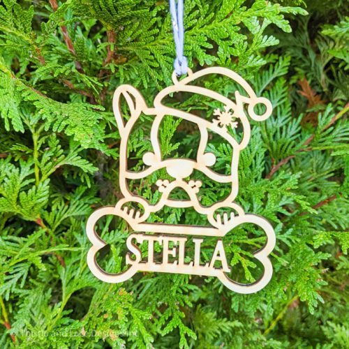 Personalized French Bulldog Christmas Tree Ornament by Thistle and Lace Designs Inc