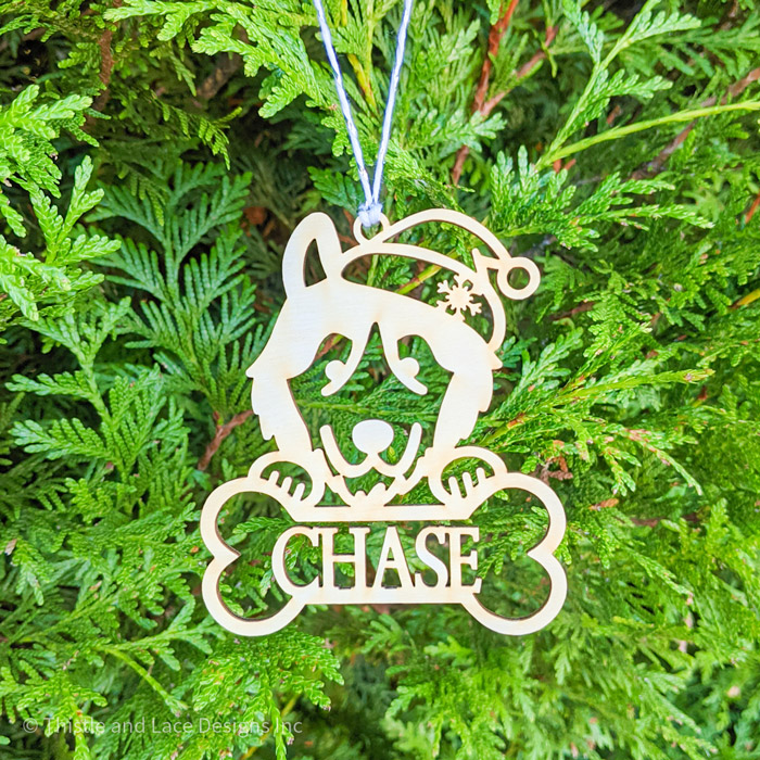 Personalized Husky Christmas Tree Ornament by Thistle and Lace Designs