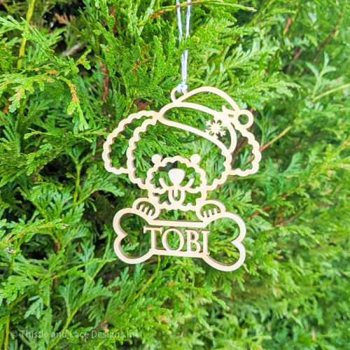 Personalized Poodle Christmas Tree Ornament by Thistle and Lace Designs Inc