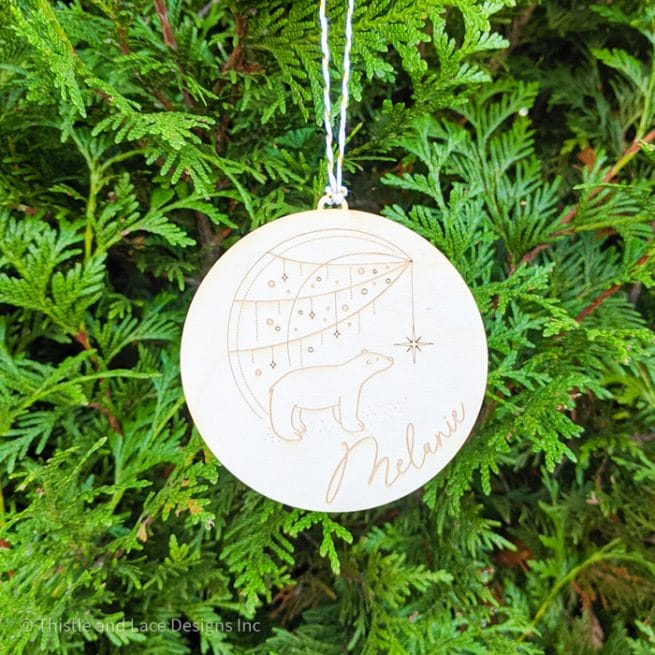 Polar Bear Christmas Tree Ornament by Thistle and Lace Designs Inc.